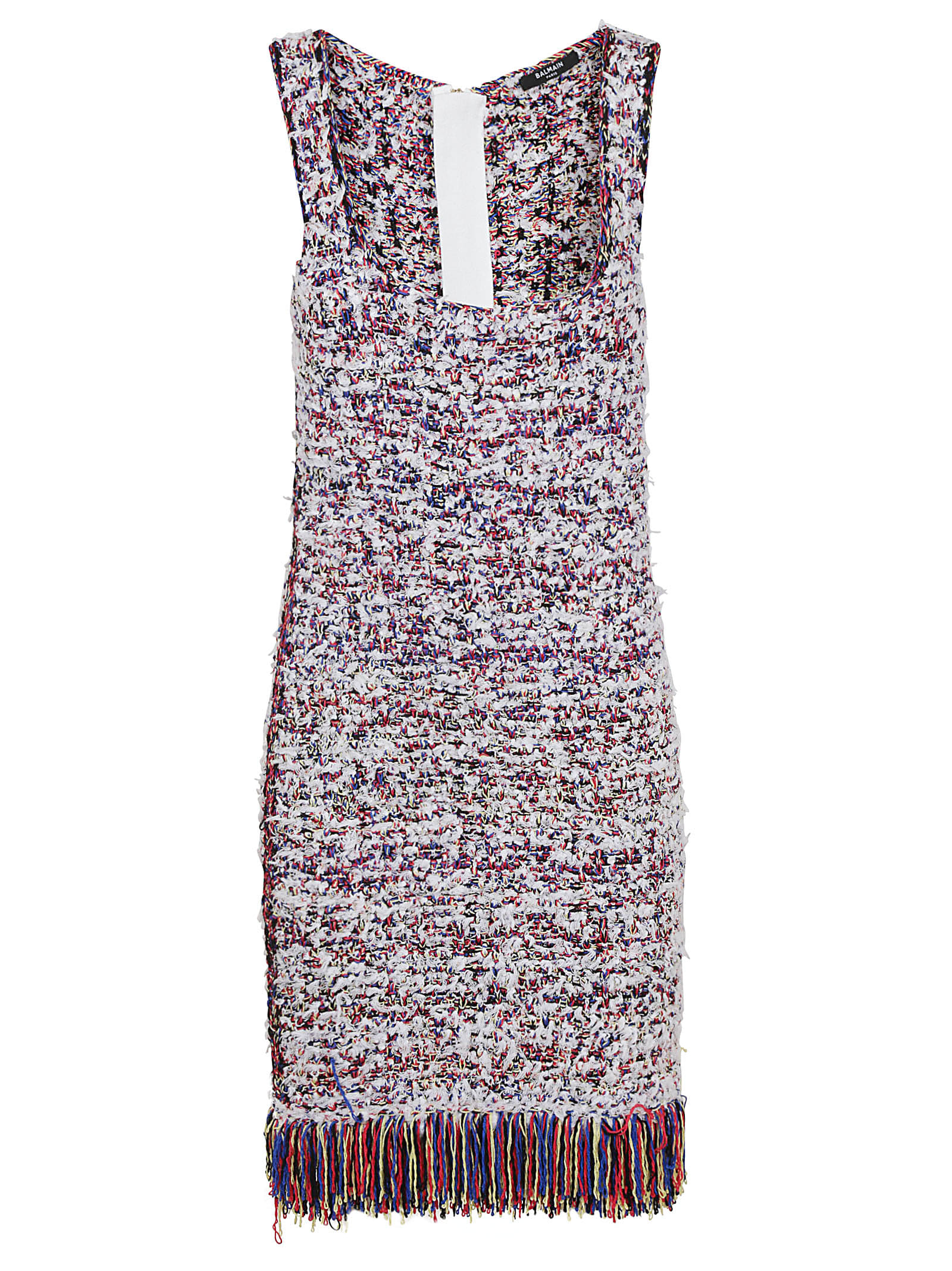 Buy Balmain Fringed Tweed Dress online, shop Balmain with free shipping