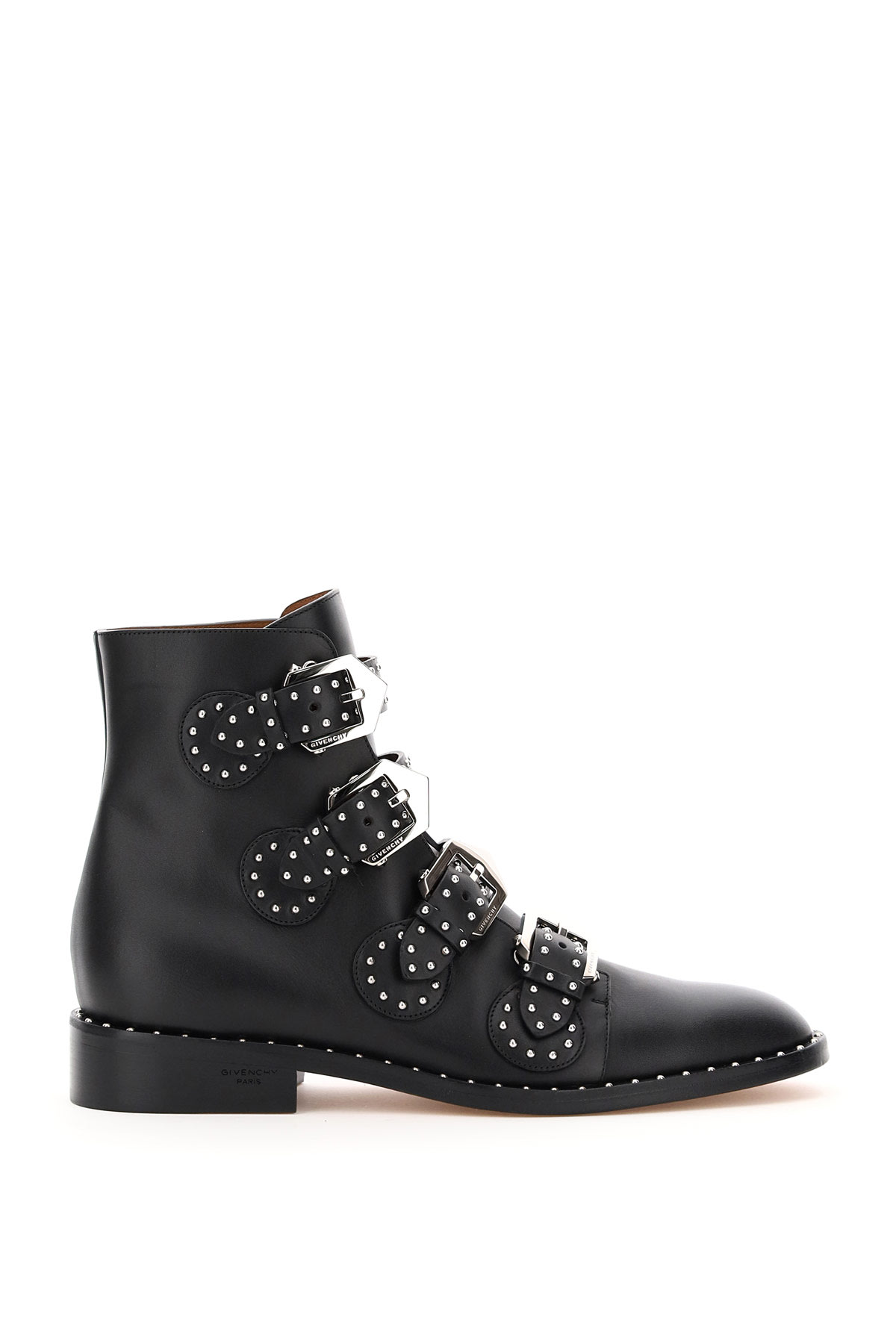 Givenchy Low Heels Ankle Boots In Black Leather In Black (black)