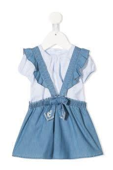 Chloé Dresses TWO PIECE DENIM DRESS WITH BOW