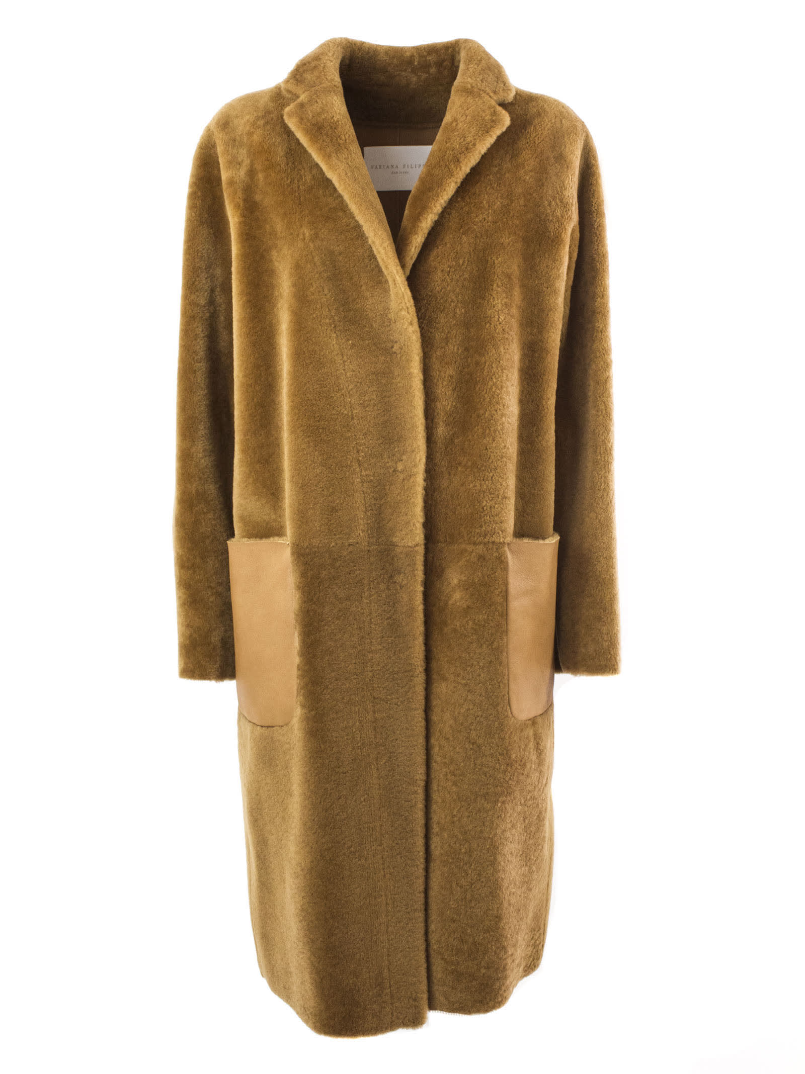Fabiana Filippi Brown Merino Sherling Overcoat