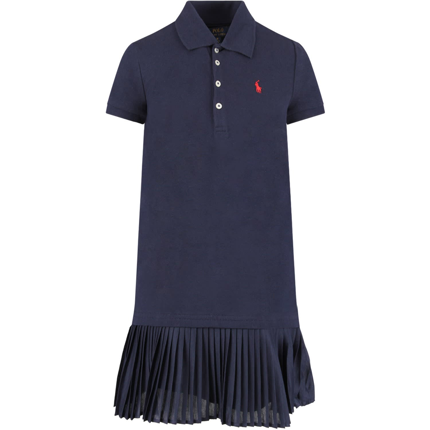 Ralph Lauren Blue Girl Dress With Red Pony