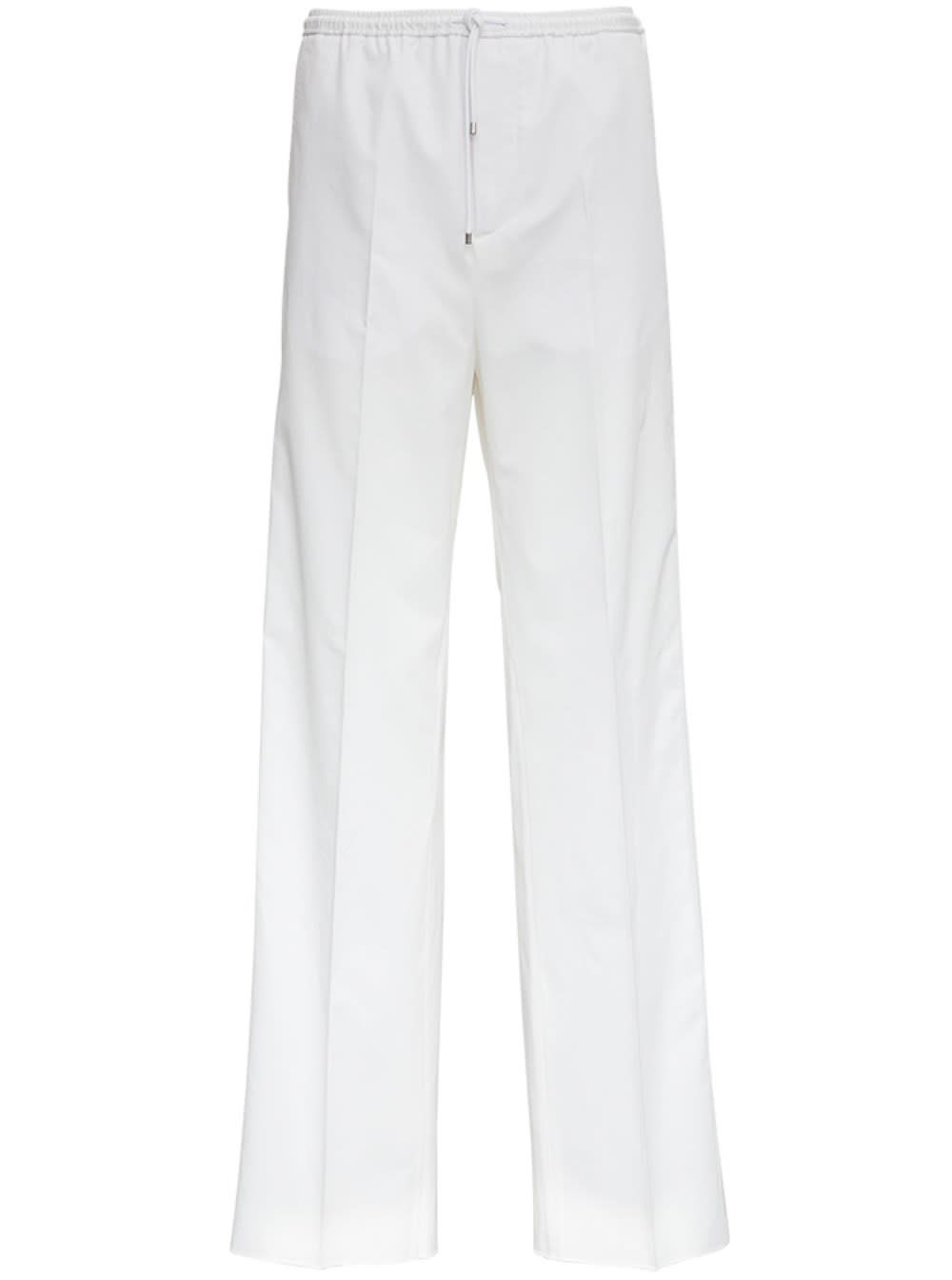 Valentino Loose Fit Cotton Pants With Drawstring In White