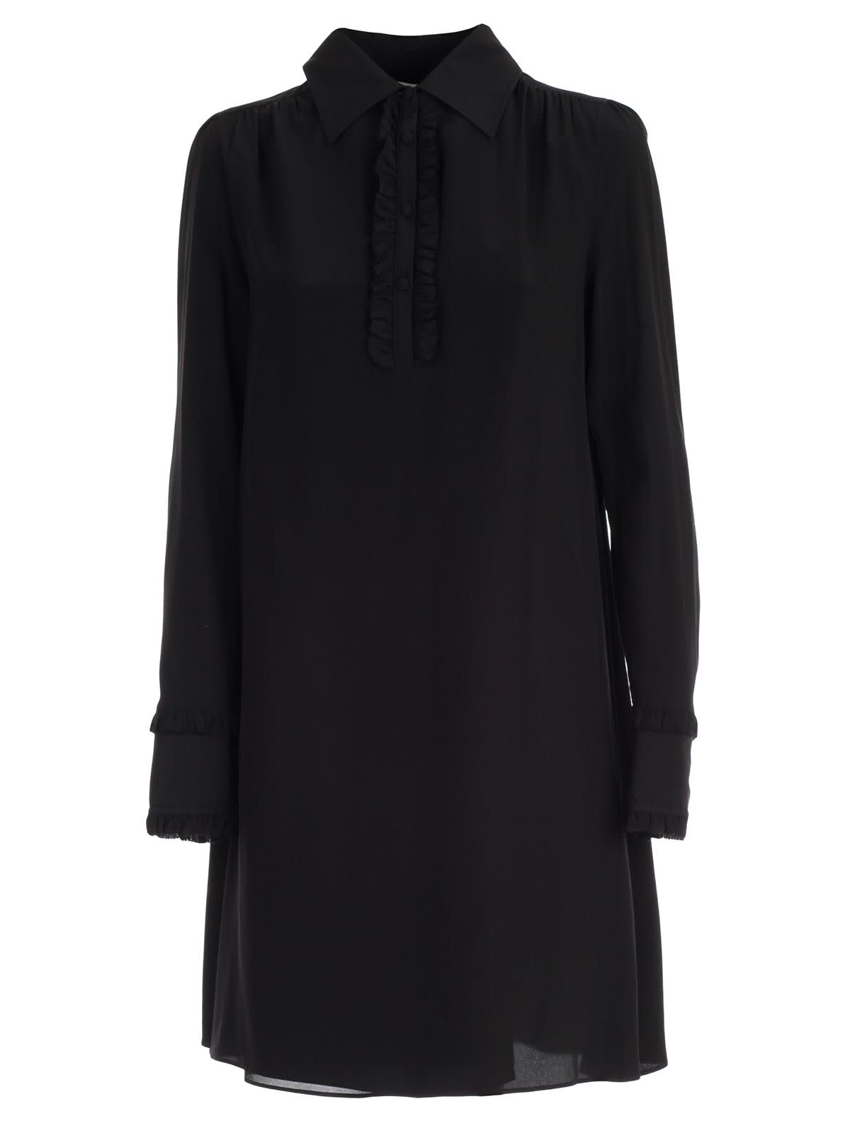 McQ Alexander McQueen Dress L & s Mini Shirt Neck W & ruflle