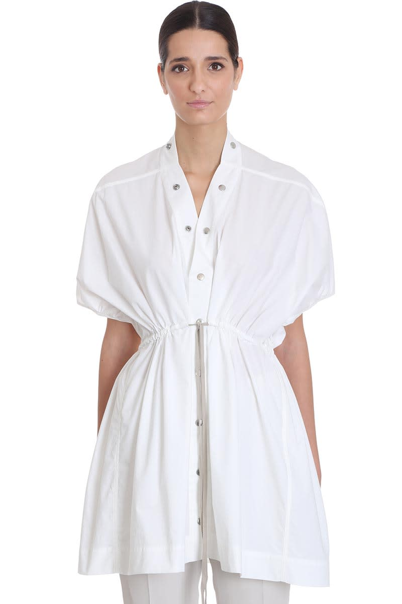 Buy Rick Owens Sail Mini Dress Shirt In White Cotton online, shop Rick Owens with free shipping