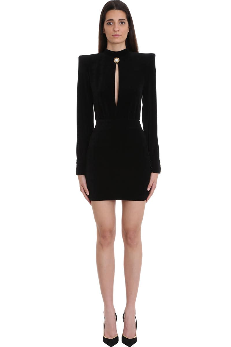 Balmain Black Velvet Short Dress