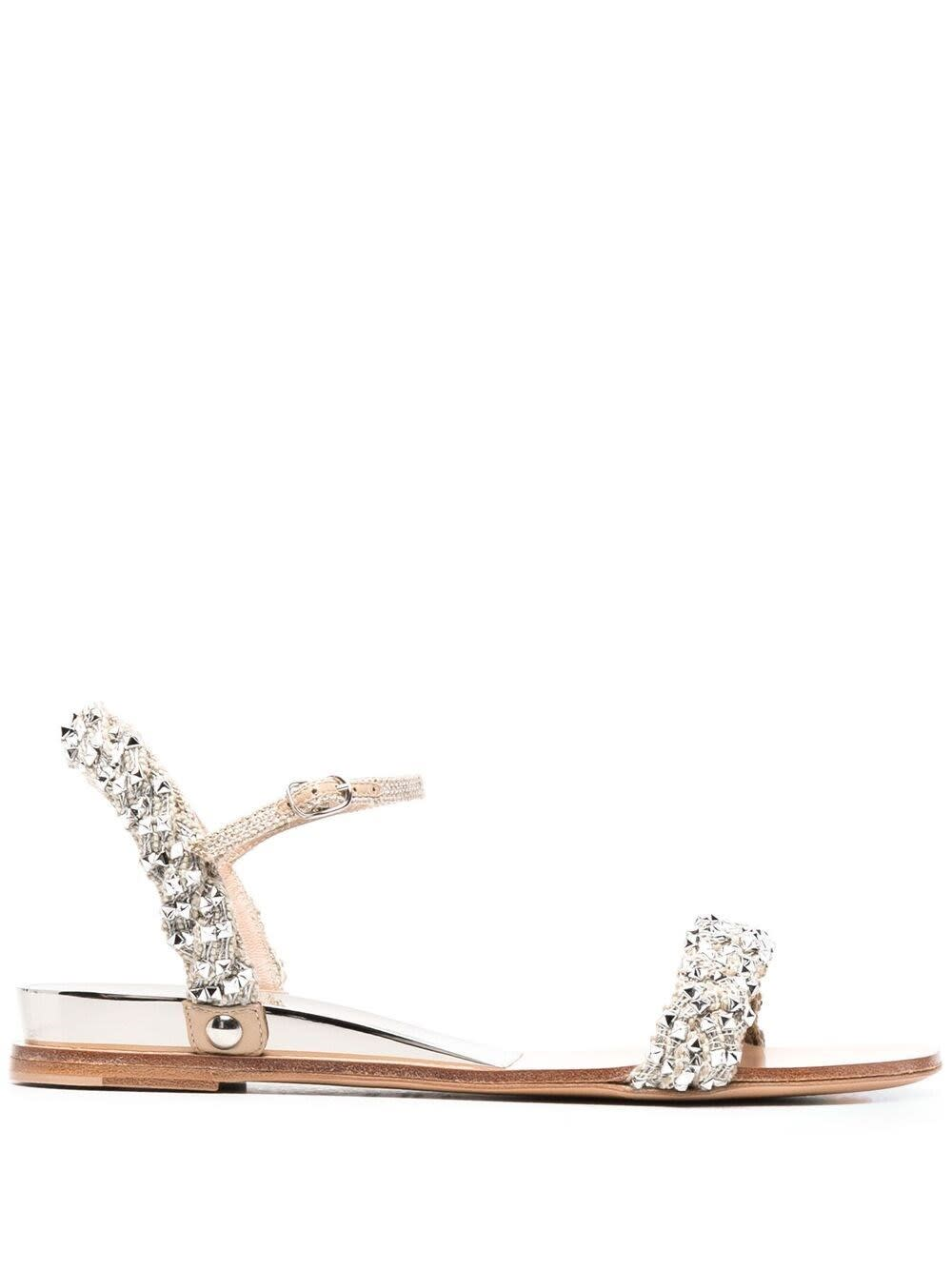 Casadei Flats SANDALS WITH SILVER STUDS