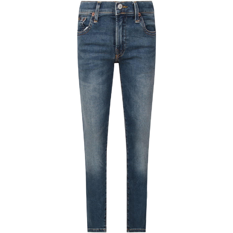 Ralph Lauren Light Blue Jeans With Black Logo For Boy
