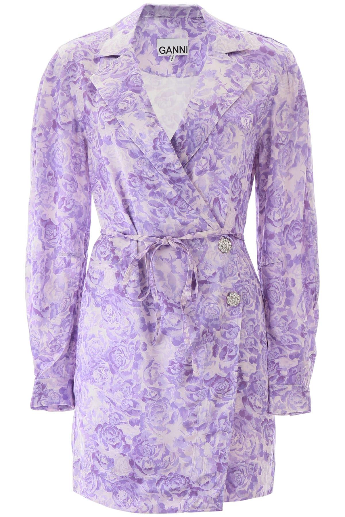 Buy Ganni Floral Print Mini Dress online, shop Ganni with free shipping