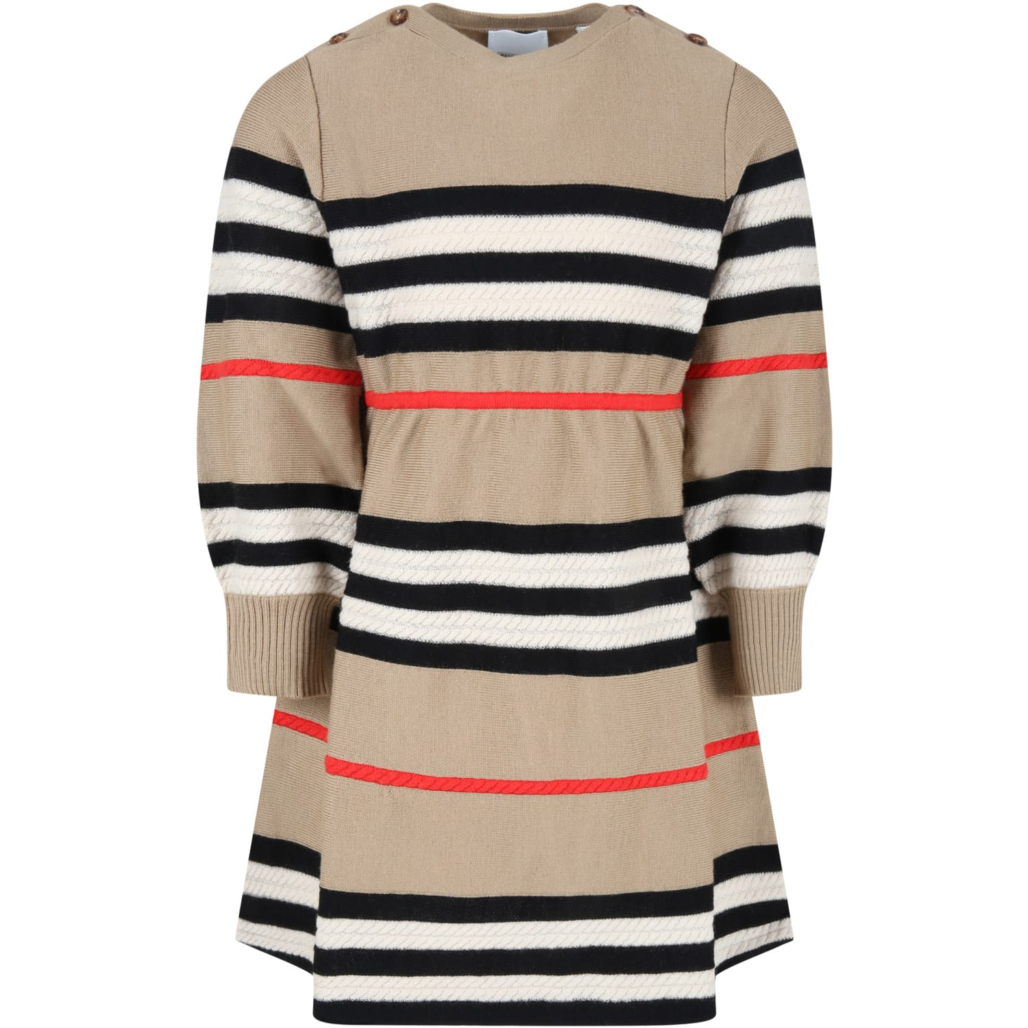 Burberry Beige Dress For Girl With Check Vintage