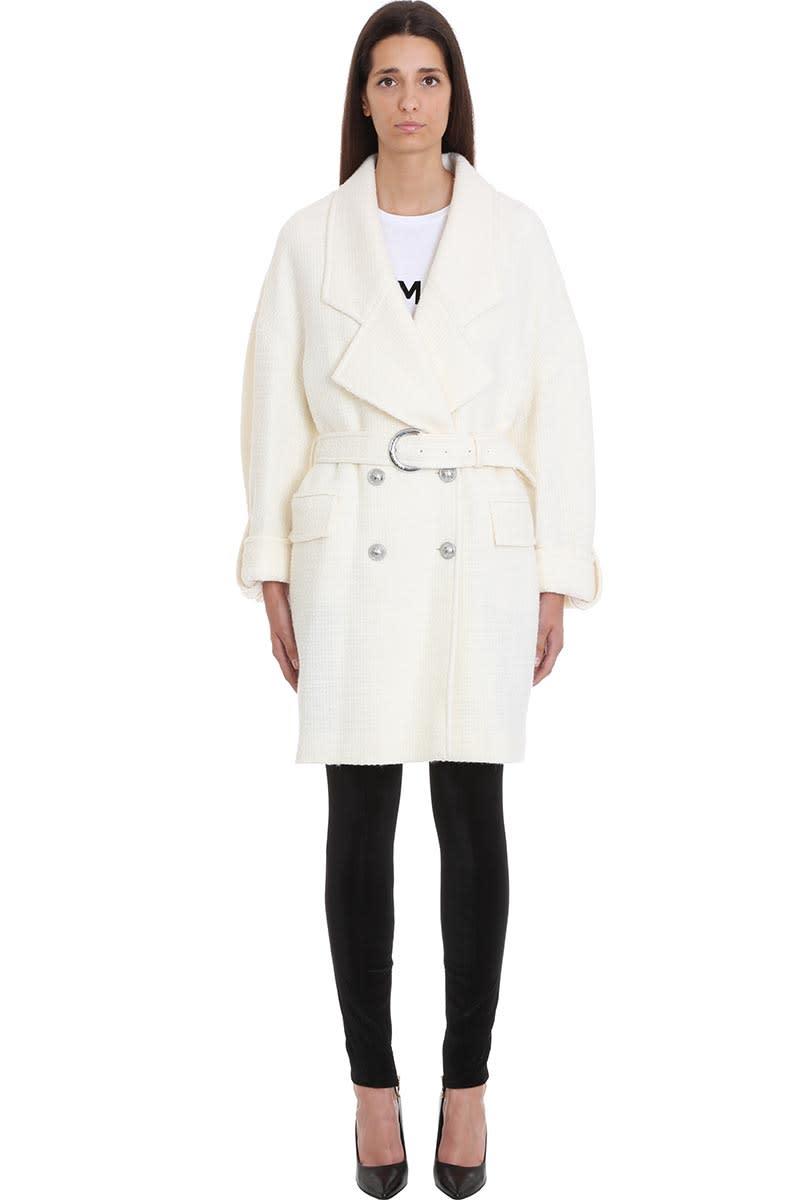 Balmain Coat In White Wool