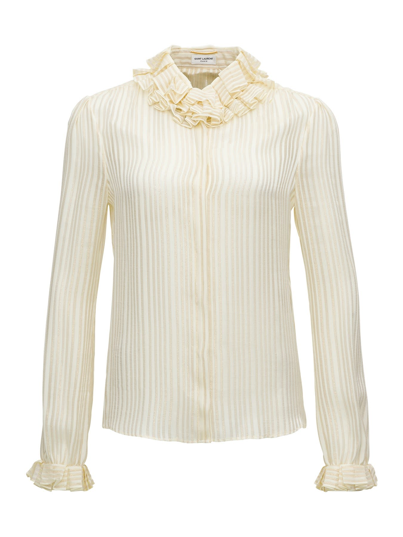 Saint Laurent Striped Blouse With Stripes And Frills