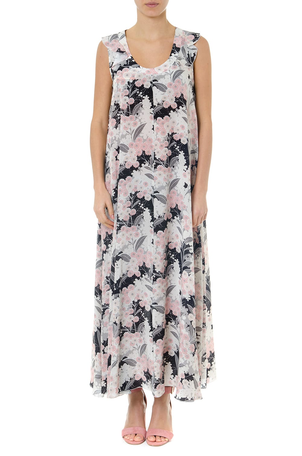 RED Valentino Multicolor Long Flower Silk Dress