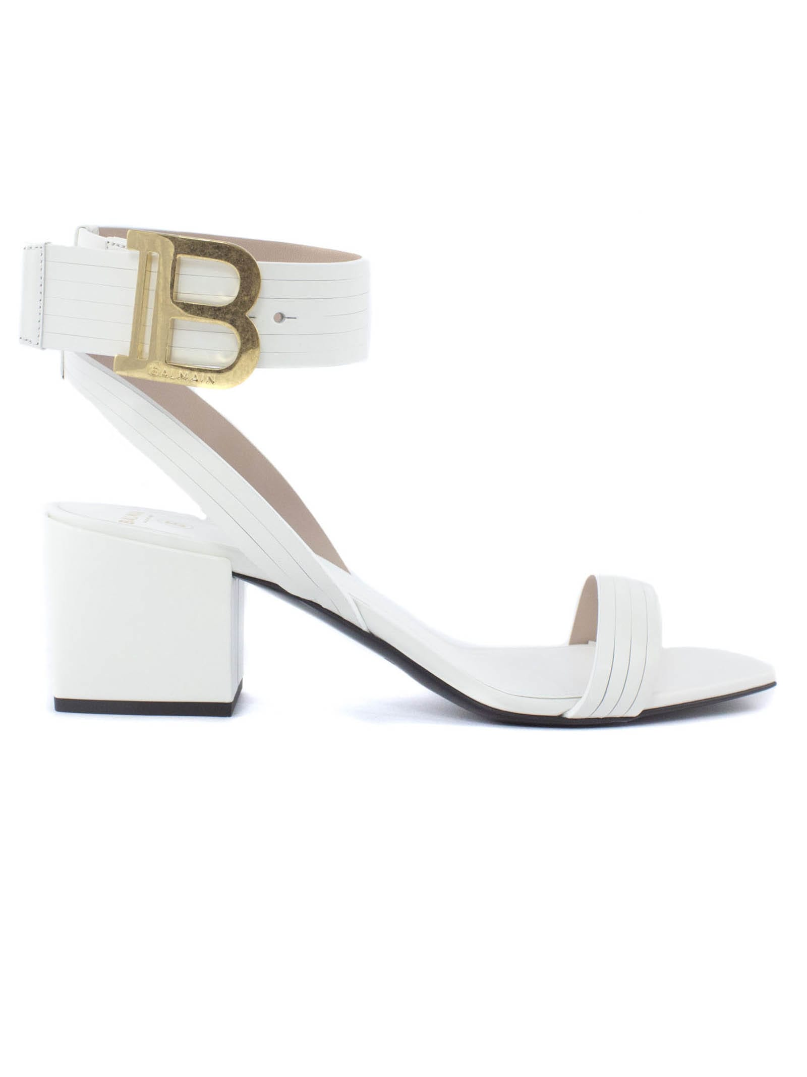 Buy Balmain Green Lambskin Stella Sandals online, shop Balmain shoes with free shipping