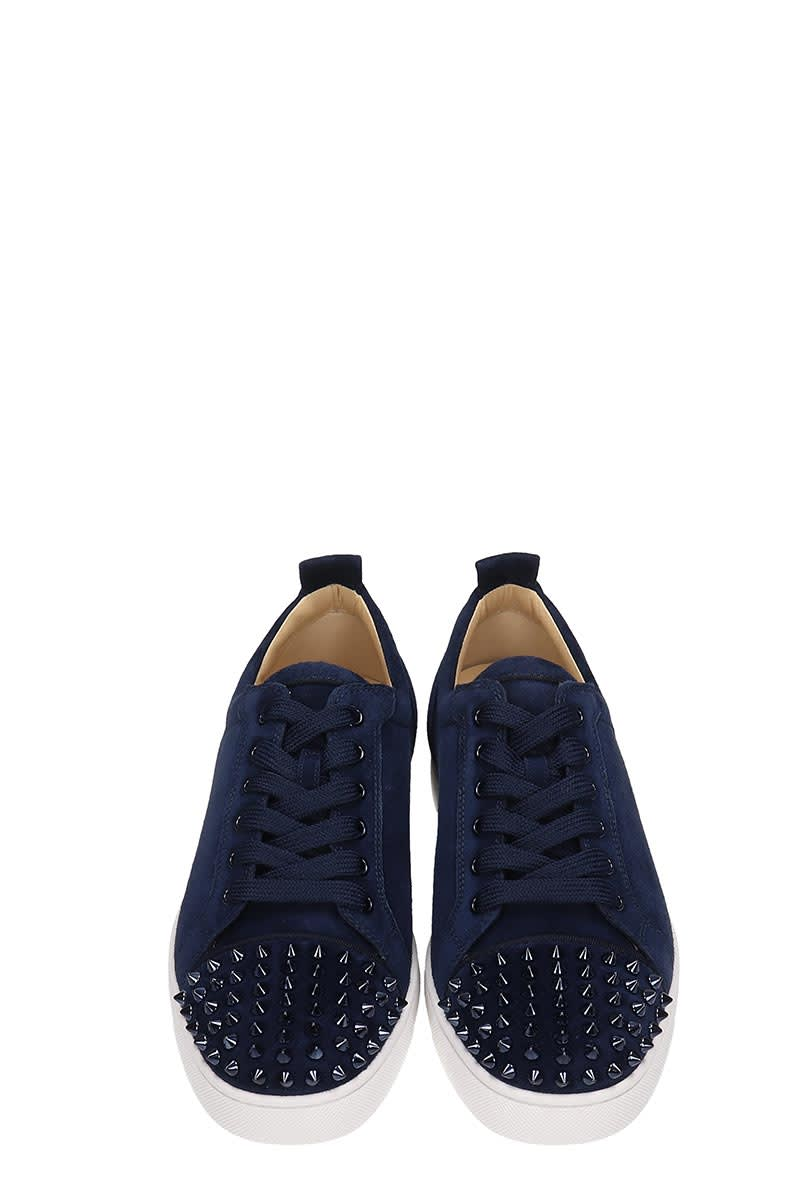 promo code 9ce78 01396 Christian Louboutin Louis Junior Spikes Blue Suede Sneakers