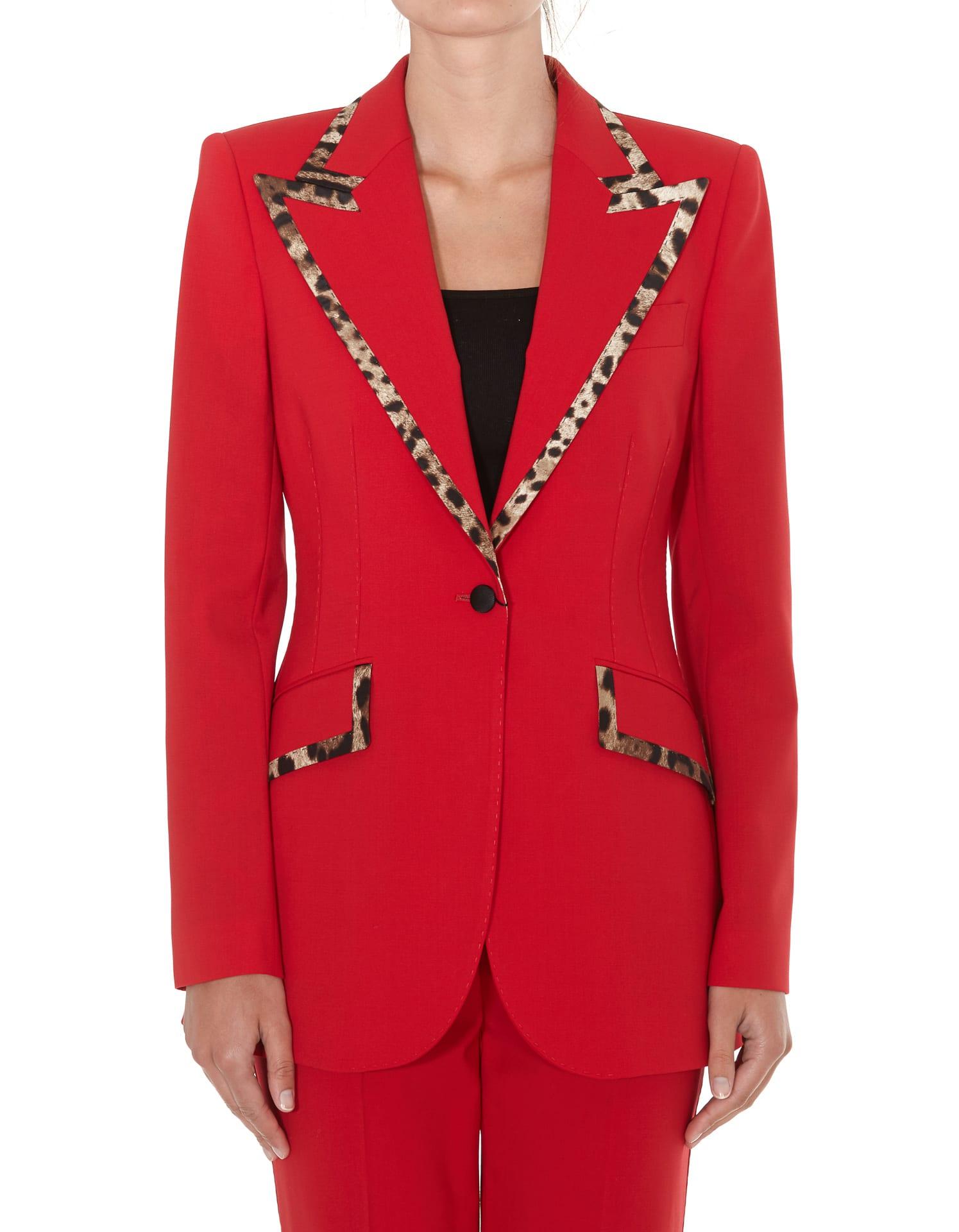 Dolce & Gabbana Blazer With Leopard Print Detail