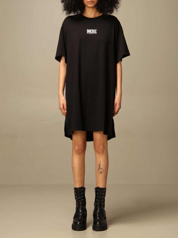 Buy Diesel Dress Diesel Short Dress In Cotton With Logo online, shop Diesel with free shipping