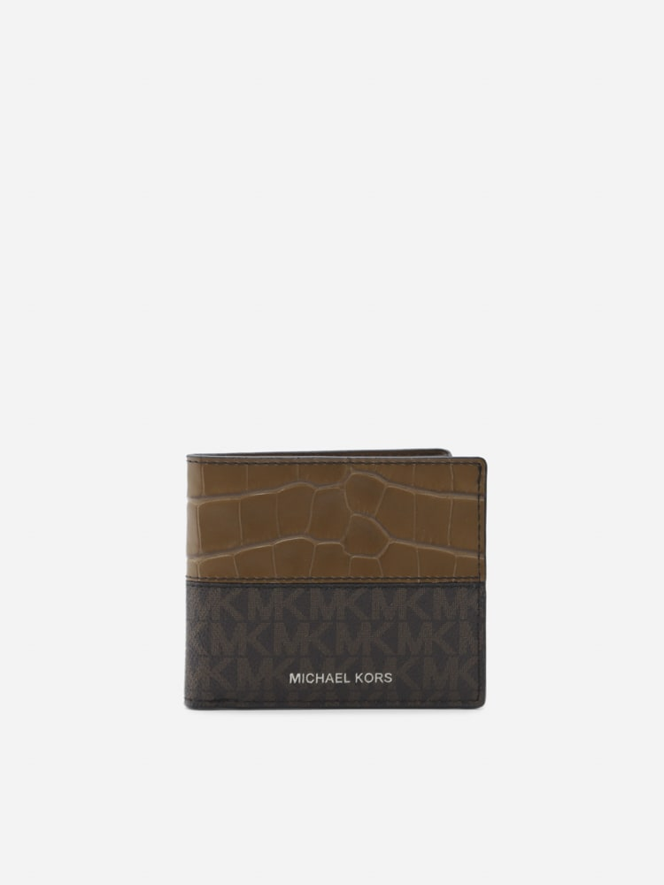 Michael Kors Hudson Wallet In Leather With All-over Monogram Print In Brown