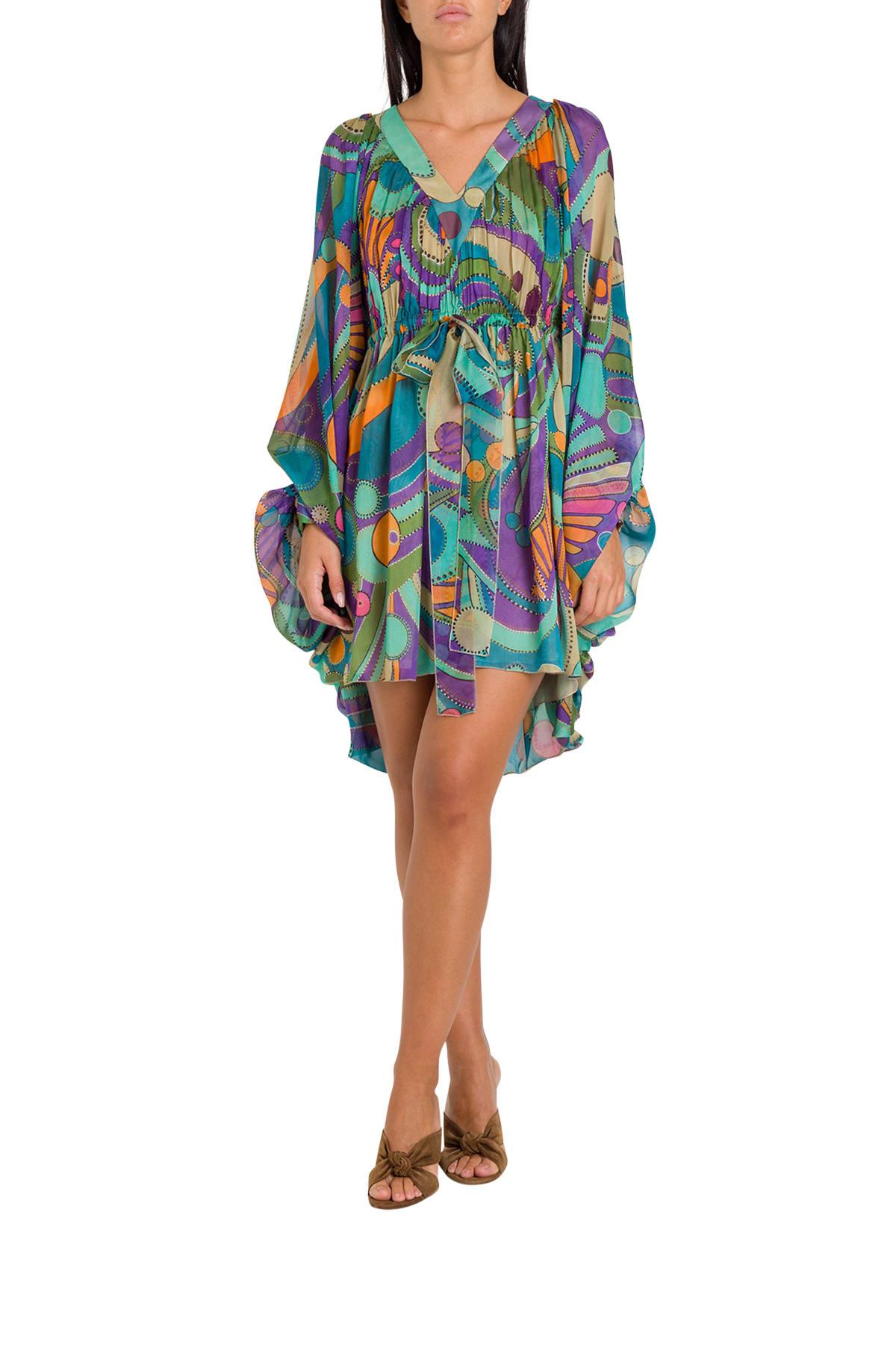 Buy Alberta Ferretti Chiffon Mini Dress online, shop Alberta Ferretti with free shipping