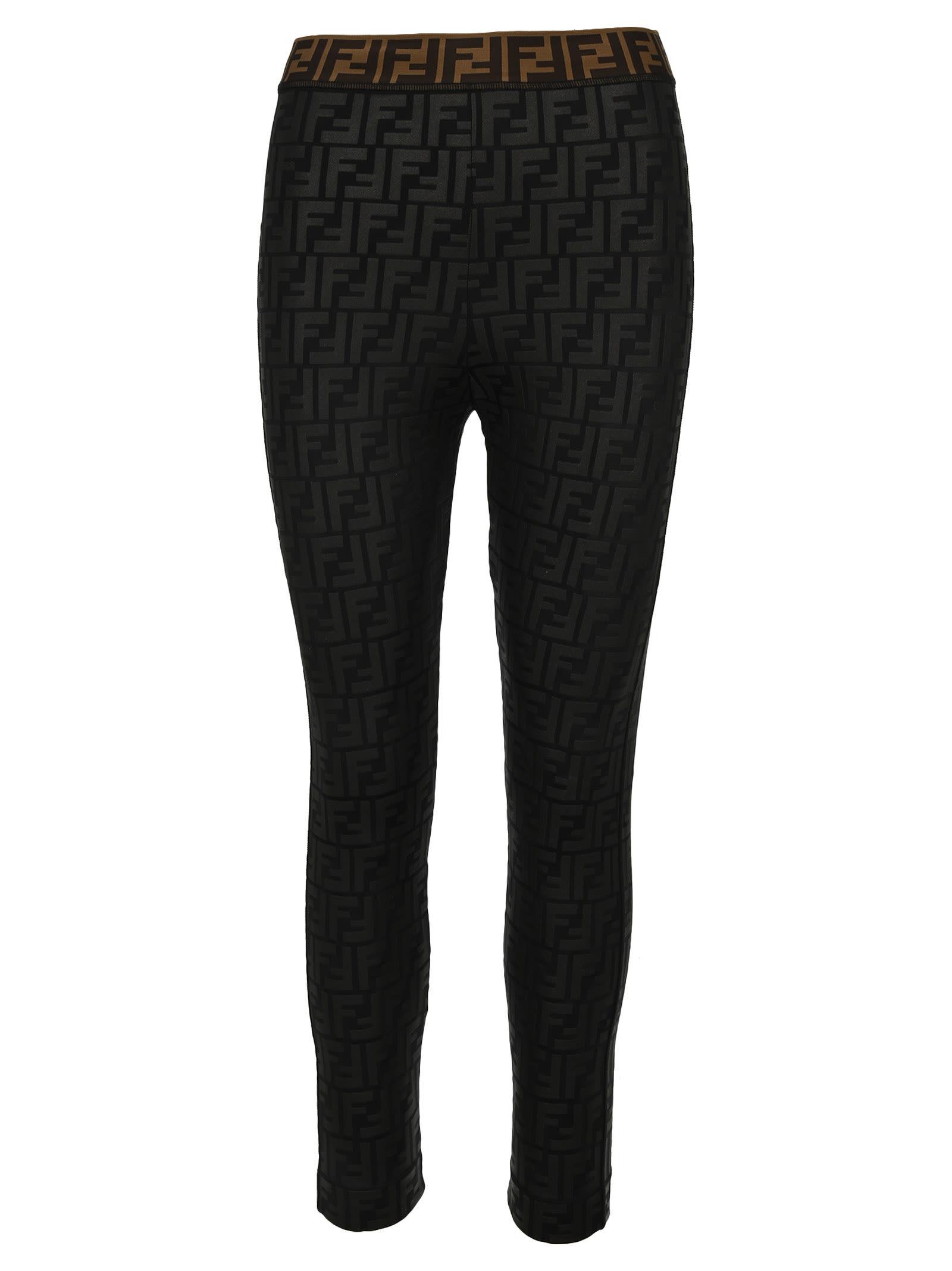 Fendi Ff Embossed Logo Leggings In Black