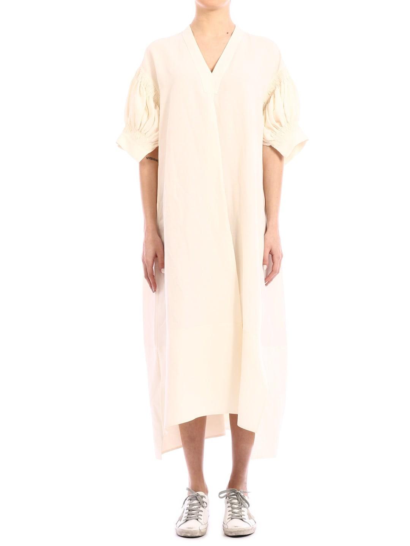Buy Jil Sander Midi Dress Cream online, shop Jil Sander with free shipping