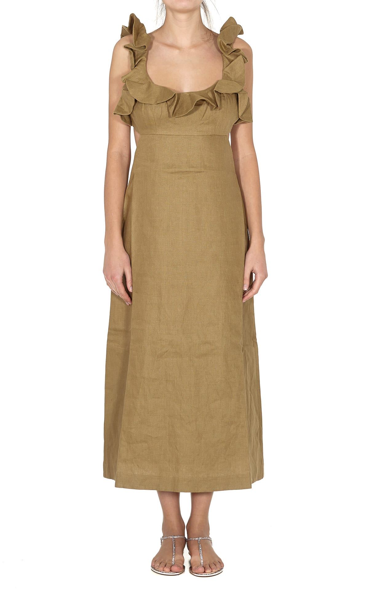 Buy Zimmermann Super Eight Frilled Midi Dress online, shop Zimmermann with free shipping