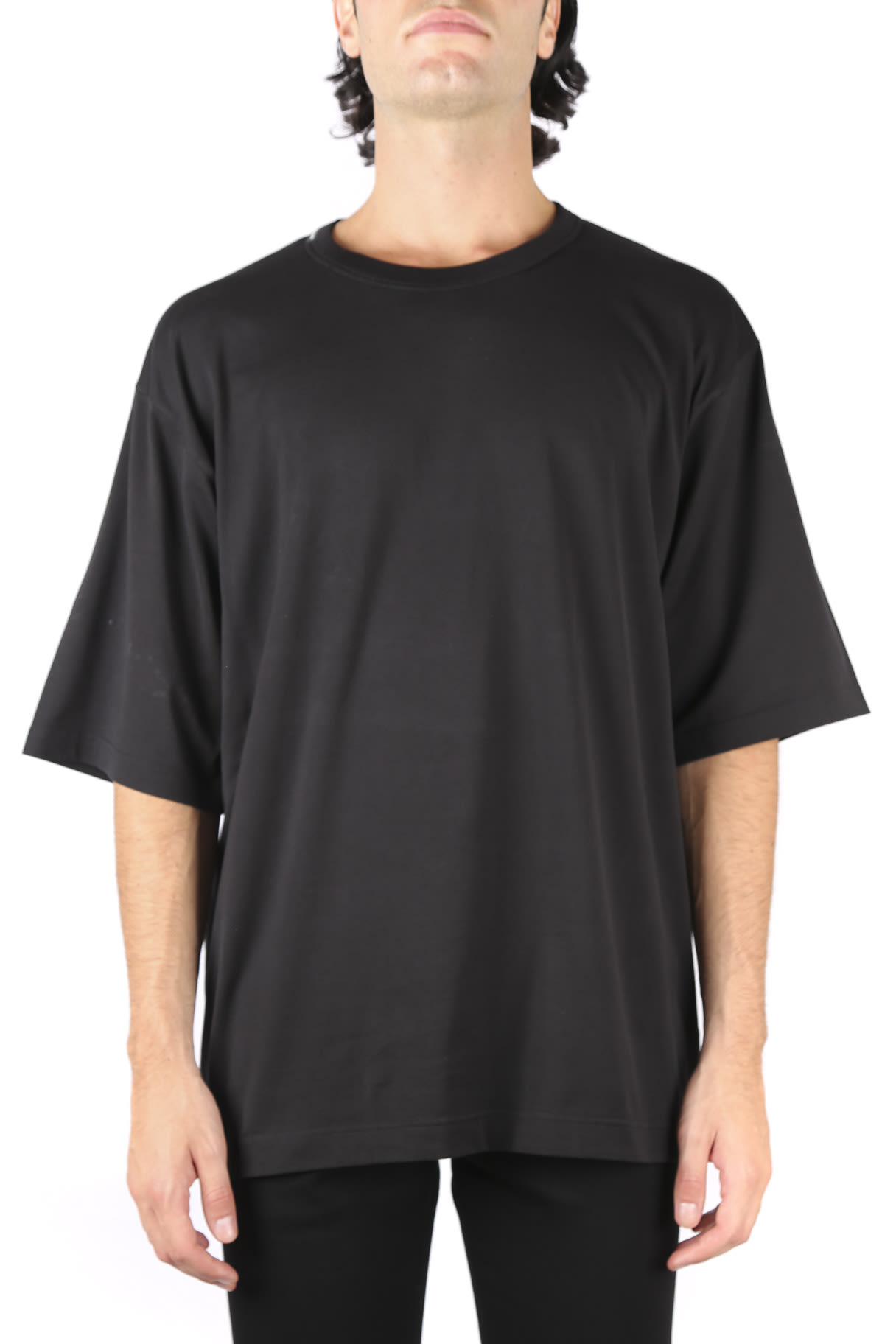 Dolce & Gabbana Black Cotton T-shirt With Back Logo