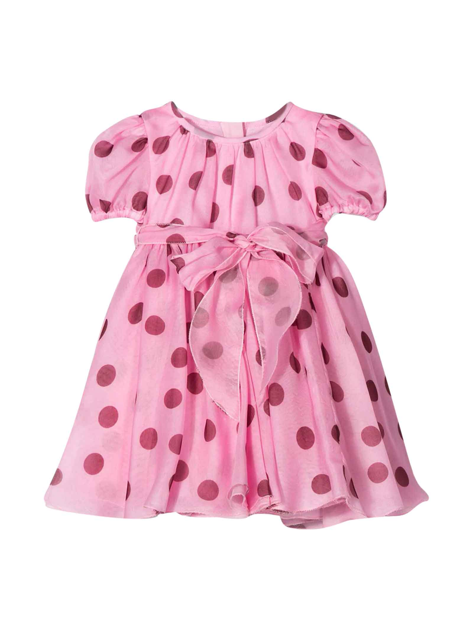 Buy Dolce & Gabbana Short Pink Dress With Red Polka Dots In Silk. online, shop Dolce & Gabbana with free shipping