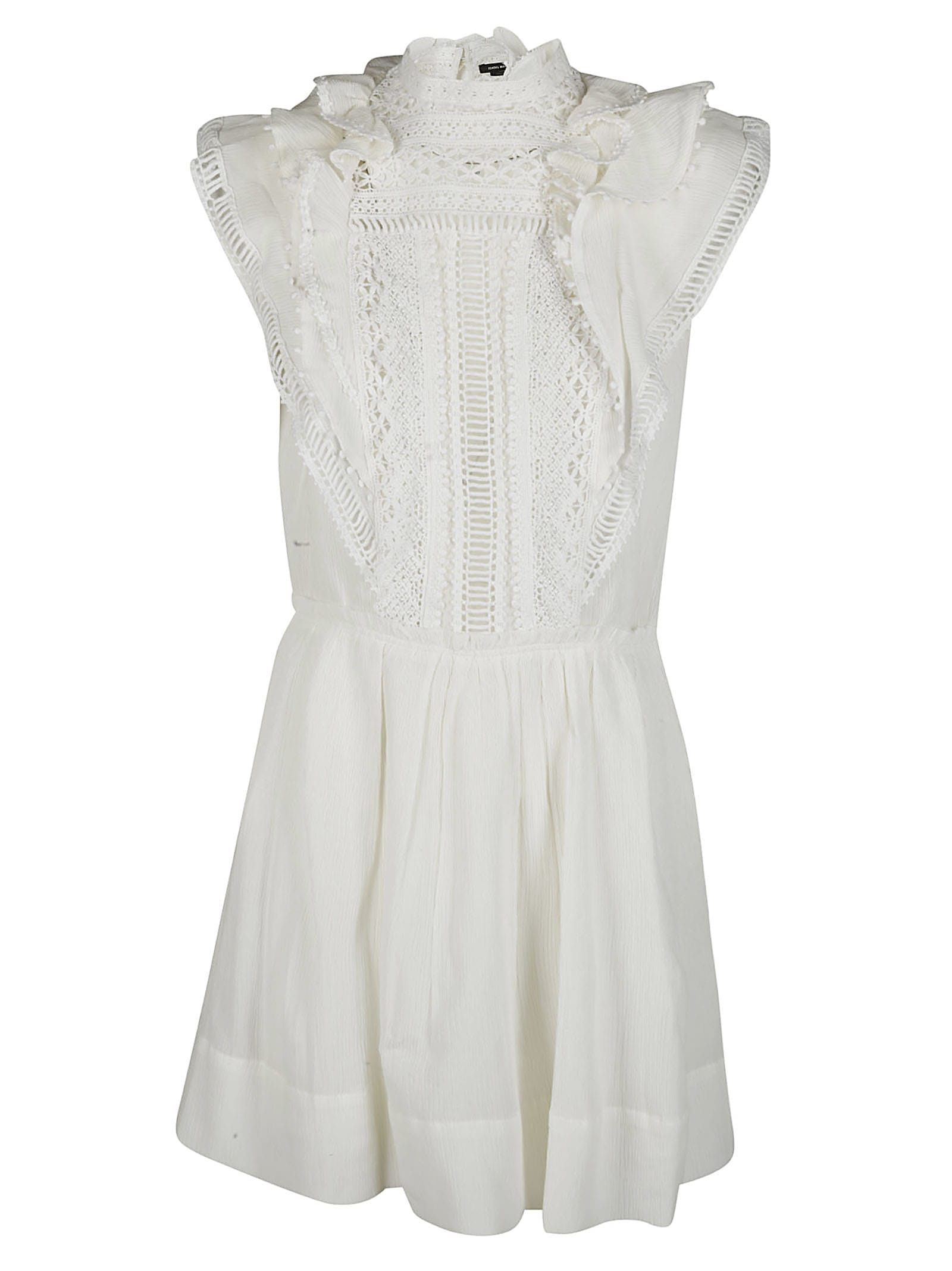 Isabel Marant White Cotton-silk Blend Mini Dress