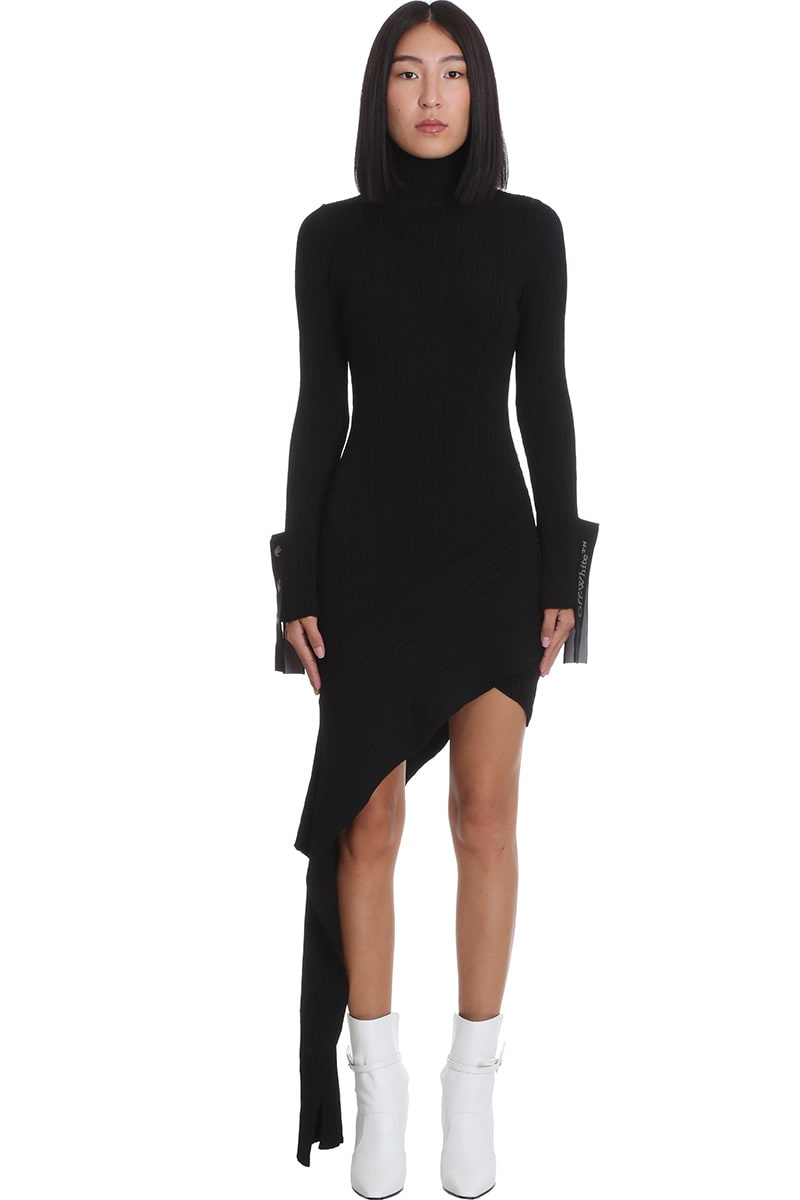 Buy Off-White Moire Dress In Black Viscose online, shop Off-White with free shipping