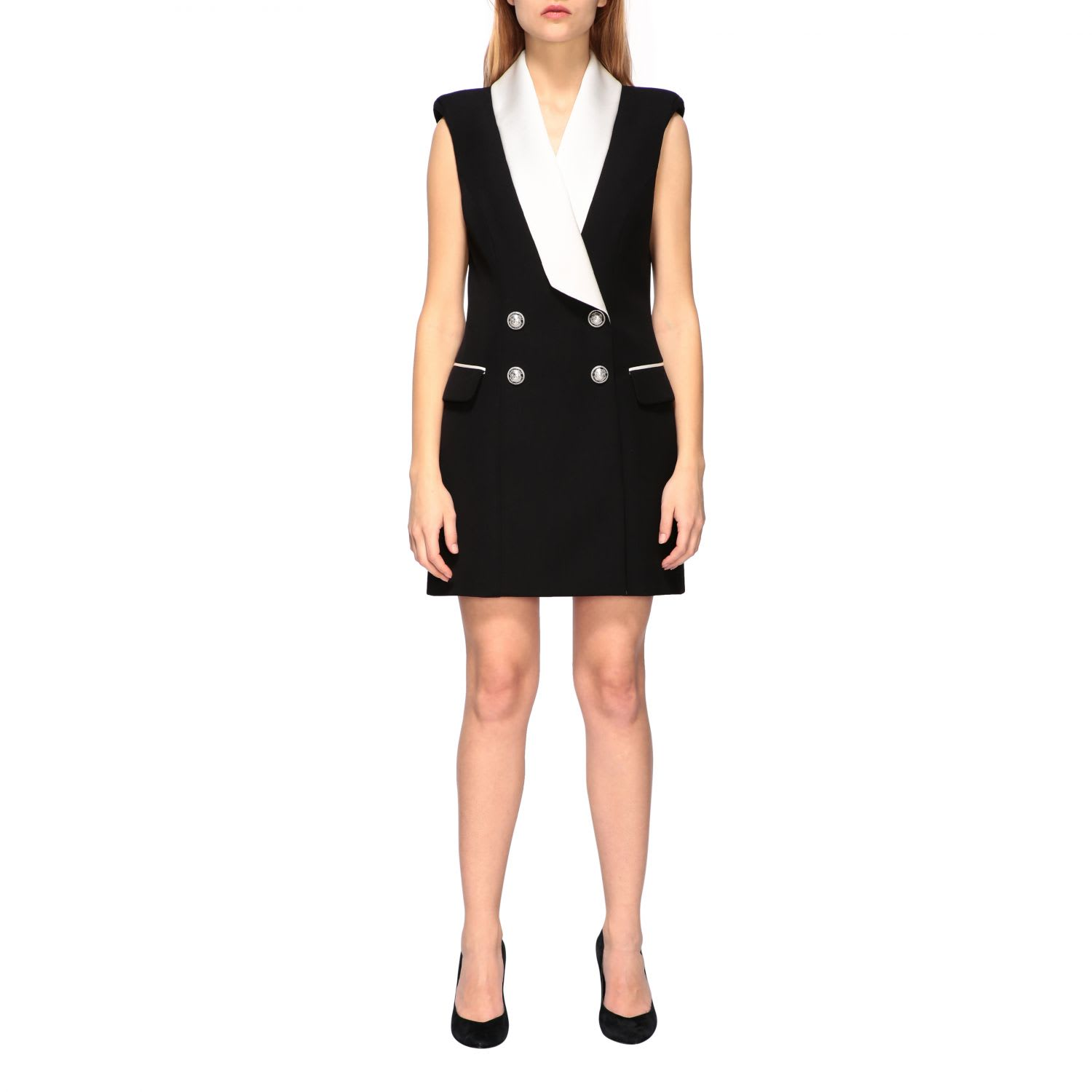 Buy Balmain Dress Balmain Tuxedo Style Dress With Satin Collar online, shop Balmain with free shipping