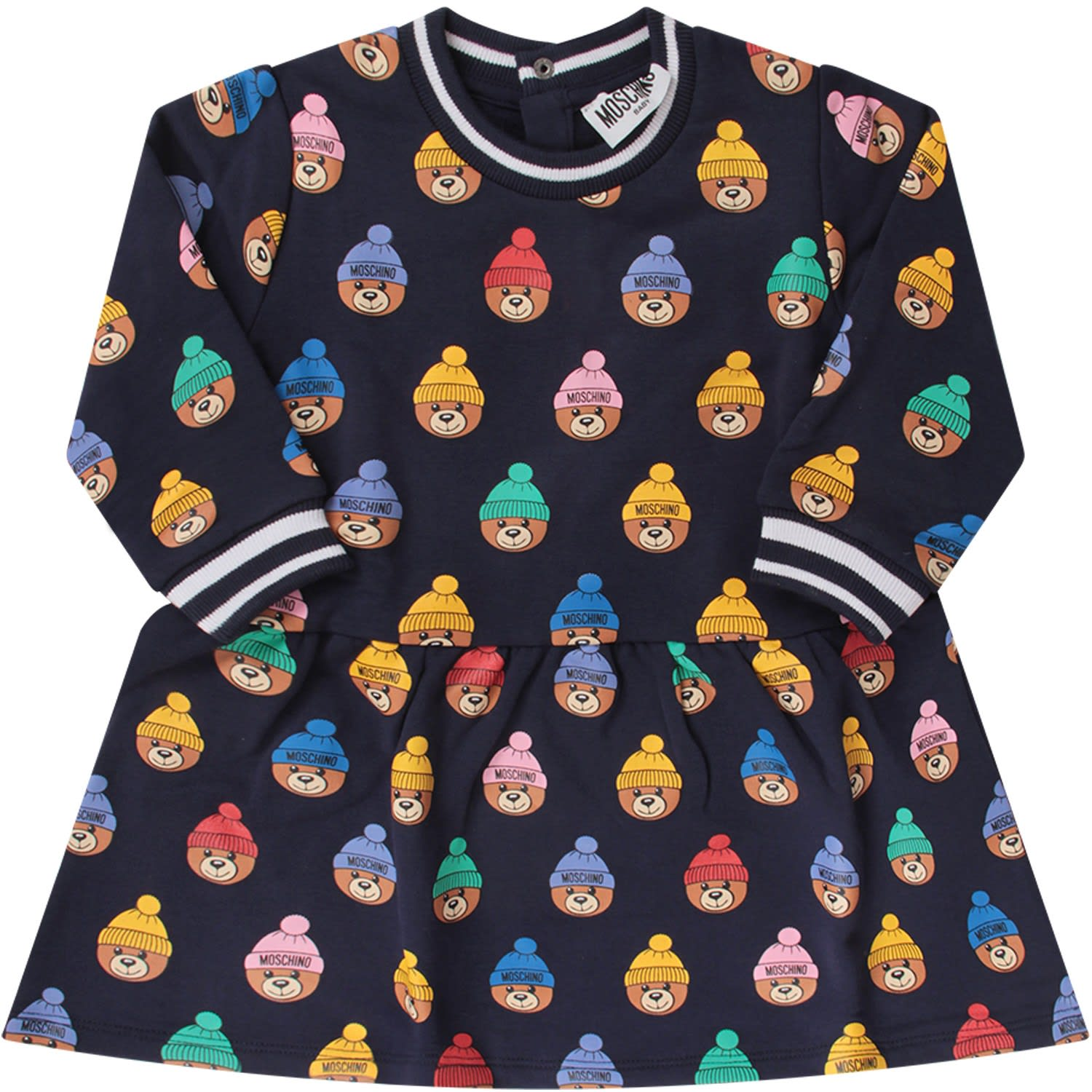 Moschino Blue Babygirl Dress With Colorful Teddy Bear