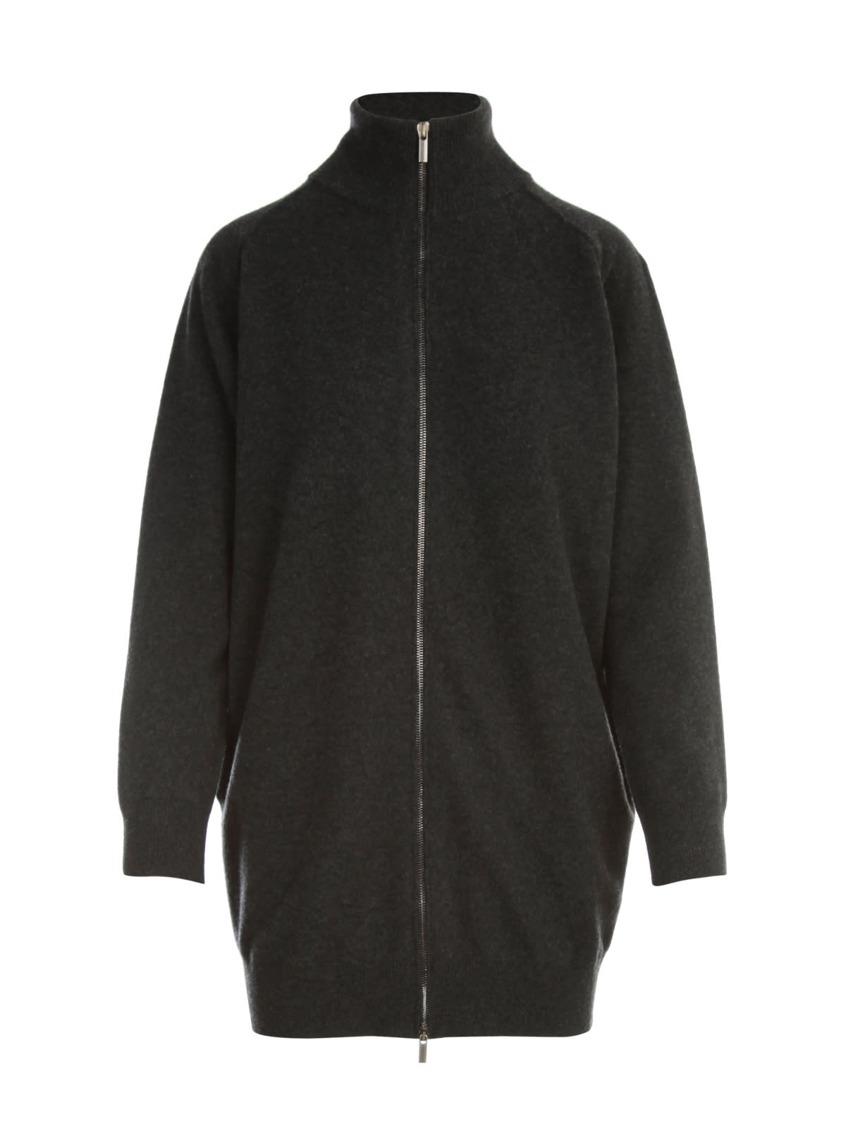 Straight Zipped High Neck L/s Sweater