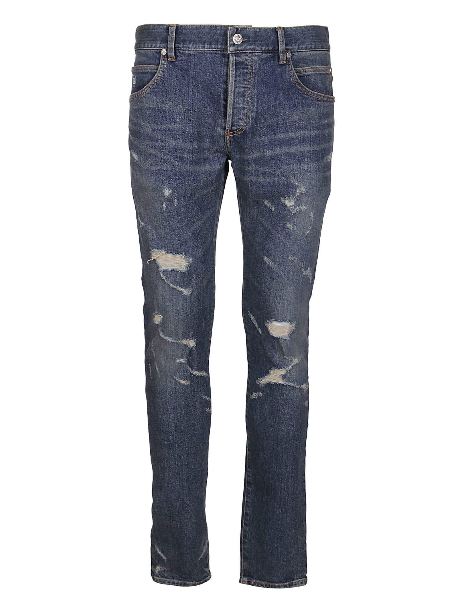 Balmain Blue Cotton Blend Jeans