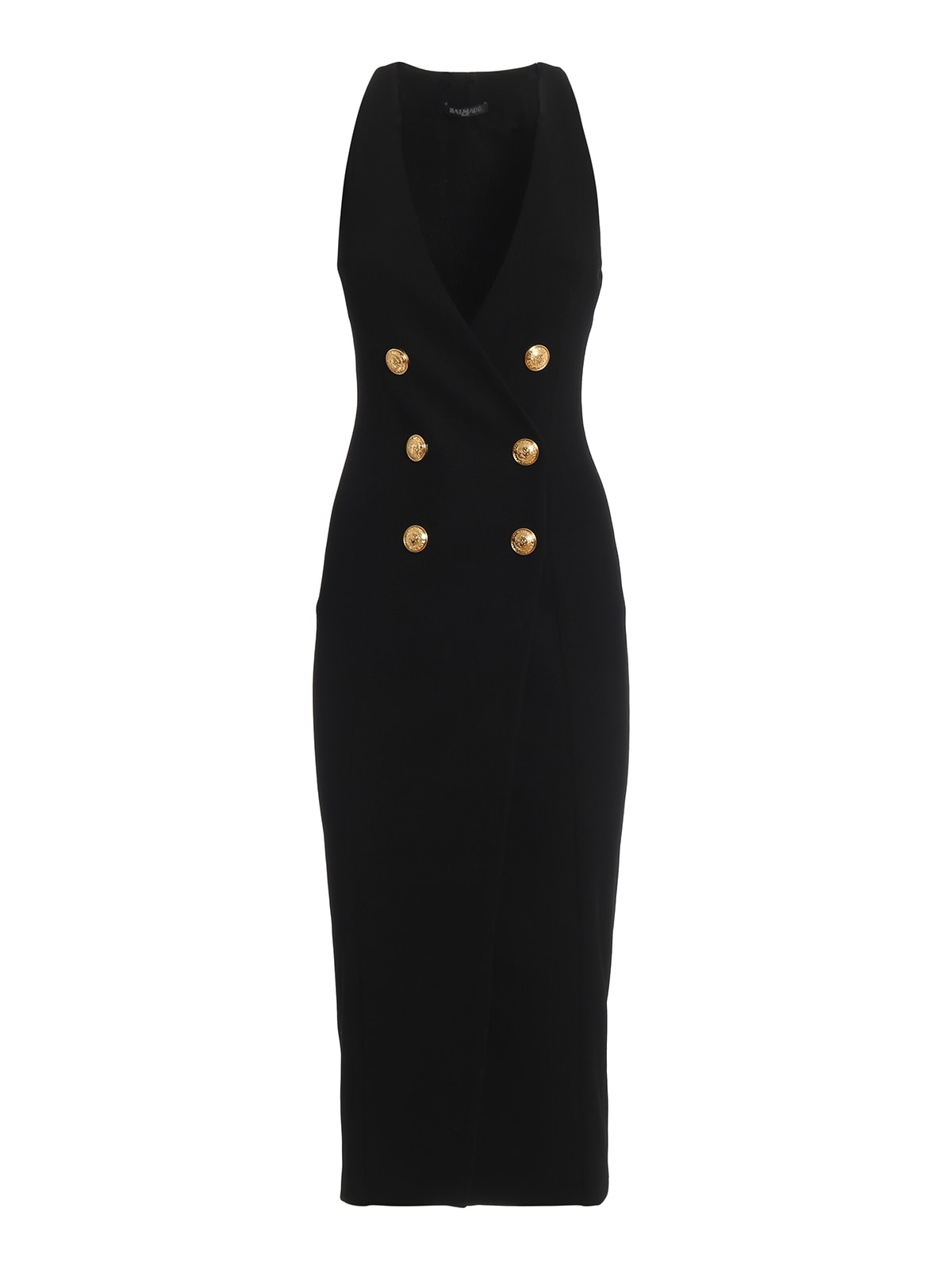 Balmain Double-breasted Sleeveless Black Dress