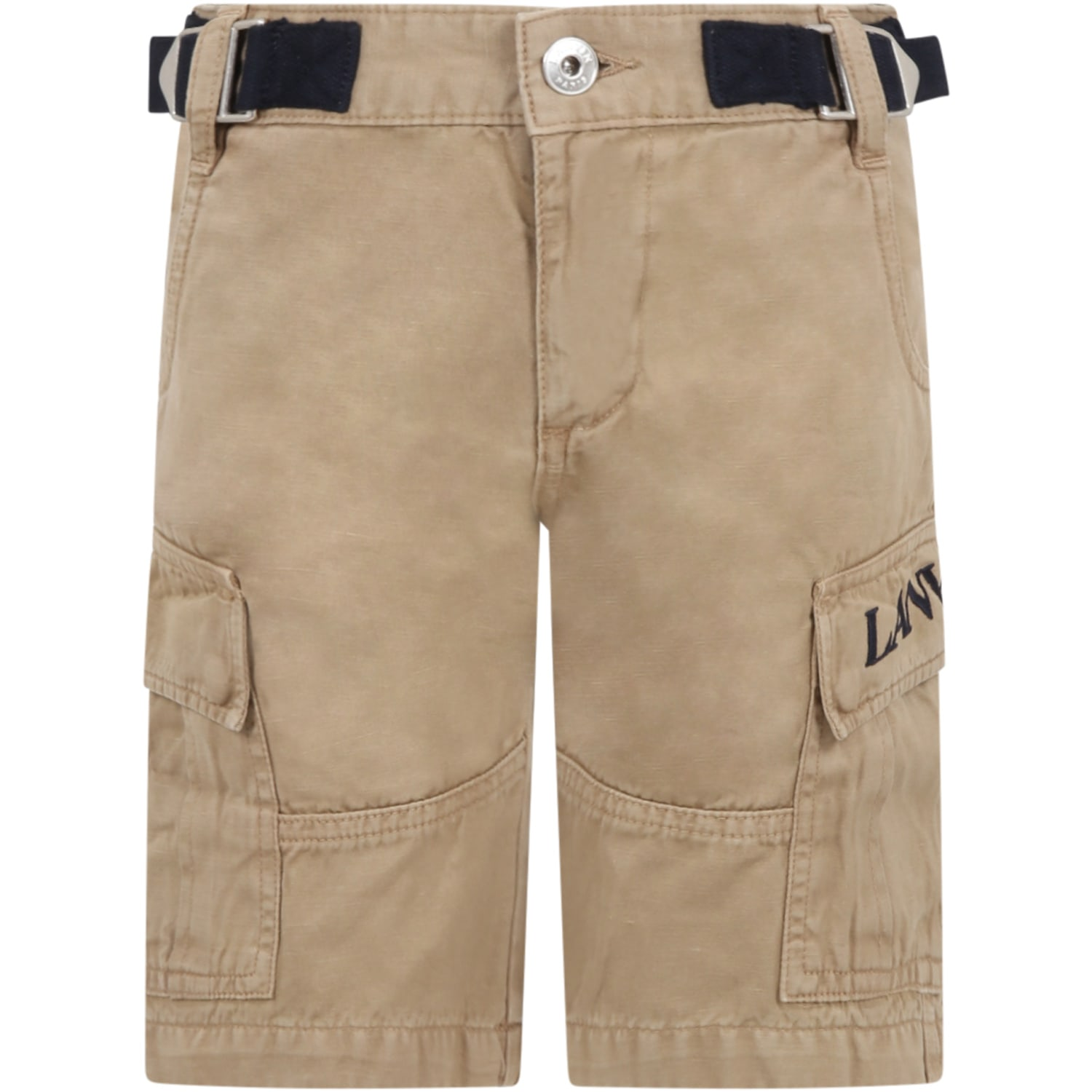 Lanvin Shorts BEIGE SHORT FOR BOY WITH LOGO