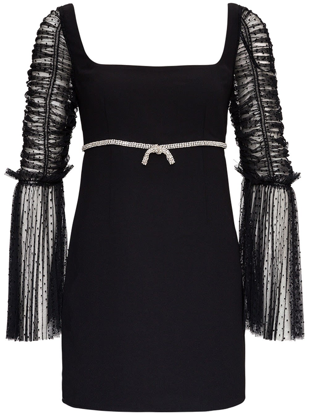 Self-portrait Crepe Dress With Bow In Black