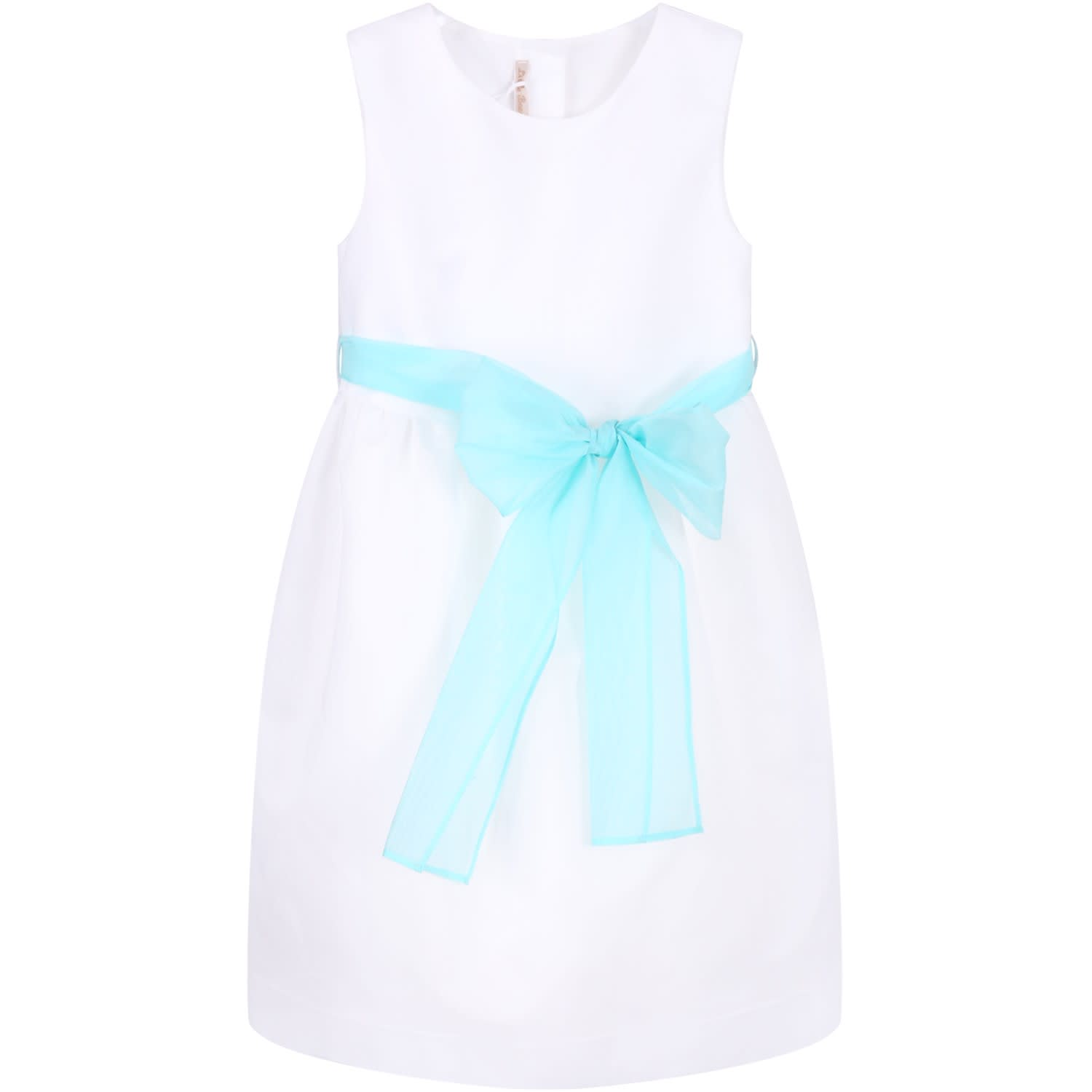Little Bear White Girl Dress With Bow