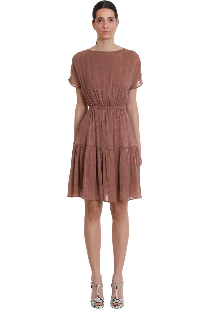 Buy LAutre Chose Dress In Brown Cotton online, shop LAutre Chose with free shipping
