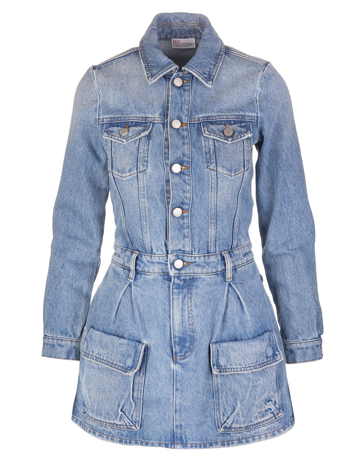 Buy Mini Dress With Vintage Denim Effect online, shop RED Valentino with free shipping