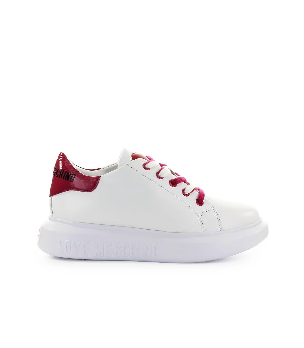 Love Moschino WHITE CHERRY RED SNEAKER