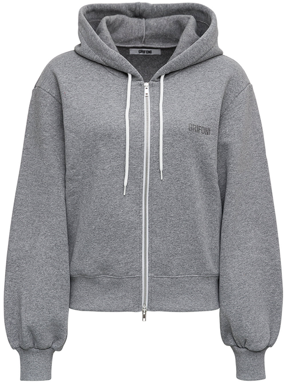 Grey Cotton Hoodie With Logo