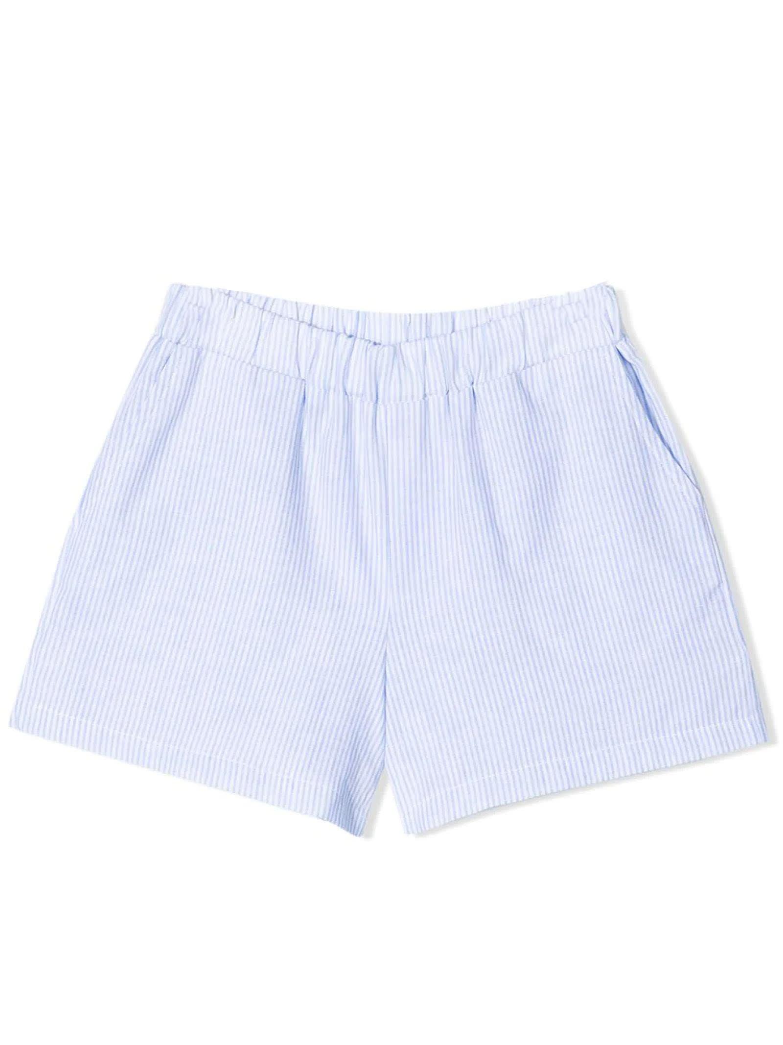 Sky Blue Cotton-blend Shorts