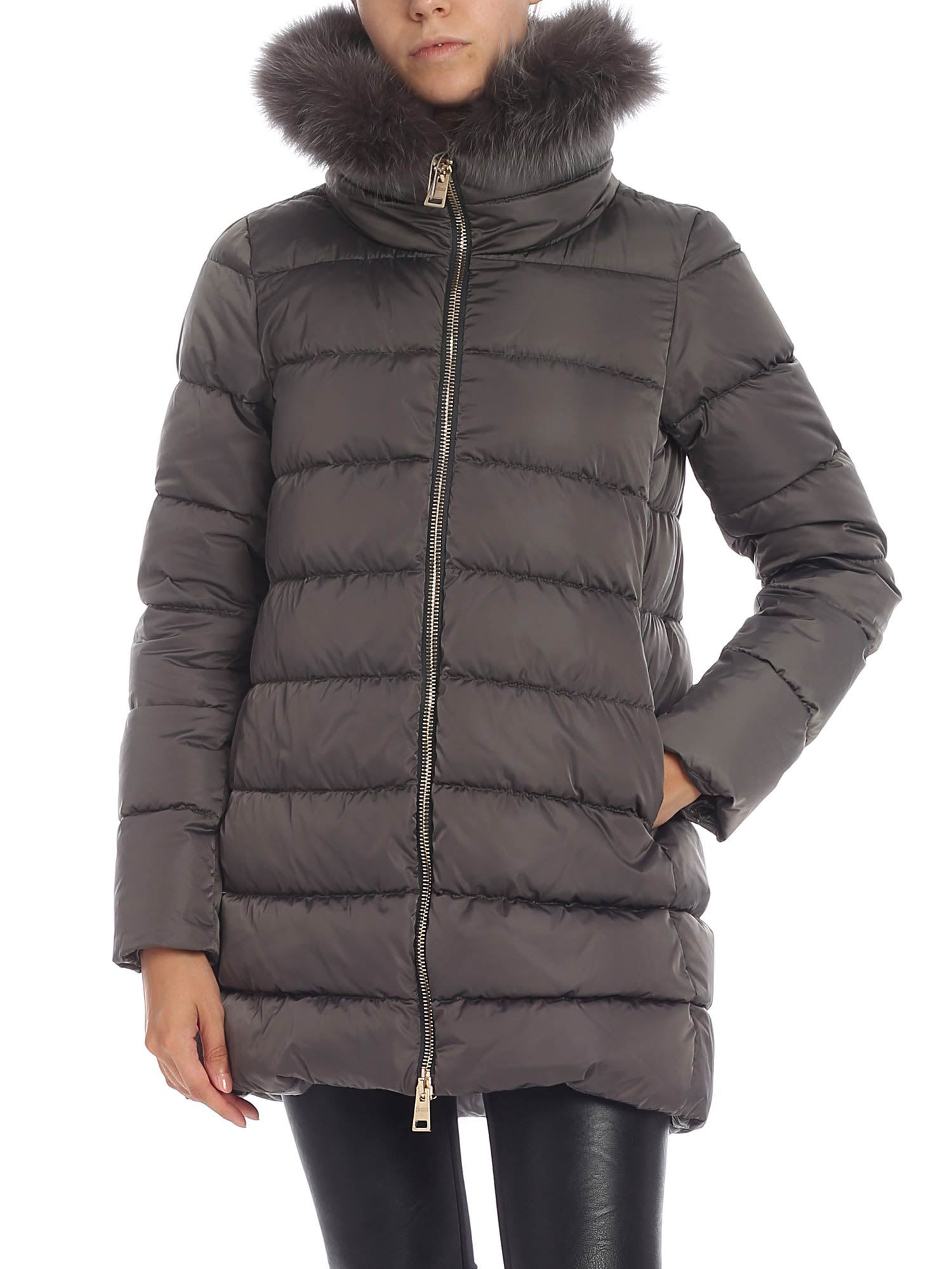 Herno Nylon Down Jacket With Fur Insert