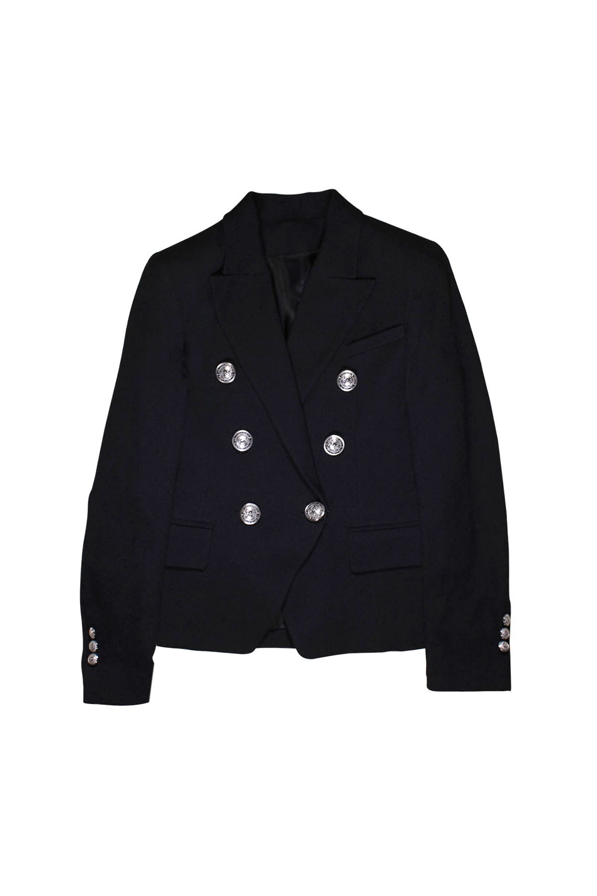 Balmain Black Double Breasted Teen Jacket
