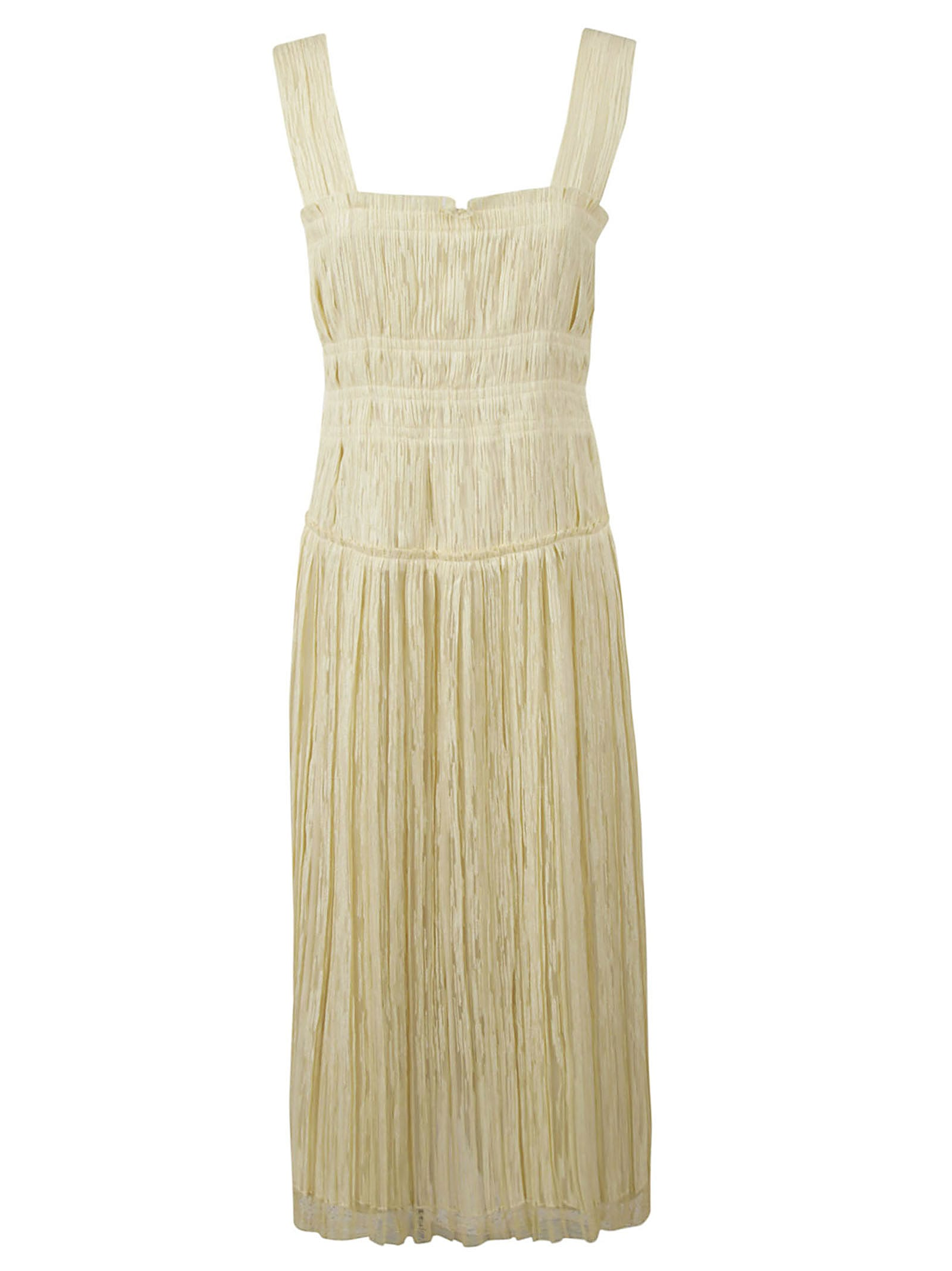 Bottega Veneta Ruched Textured Chiffon Midi Dress