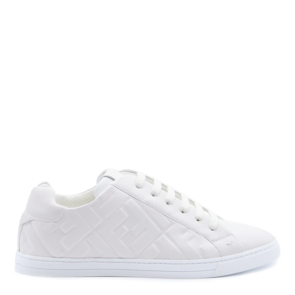 Fendi WHITE NAPPA SNEAKERS WITH EMBOSSED LOGO