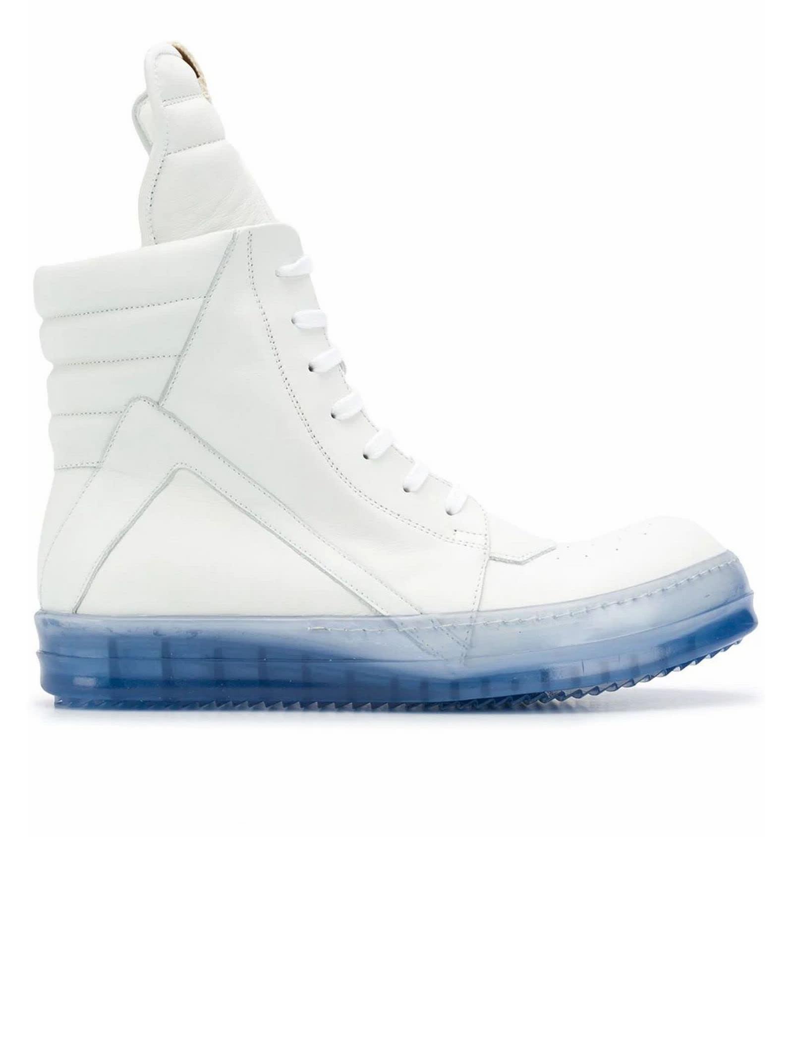 Rick Owens White Geobasket Sneakers