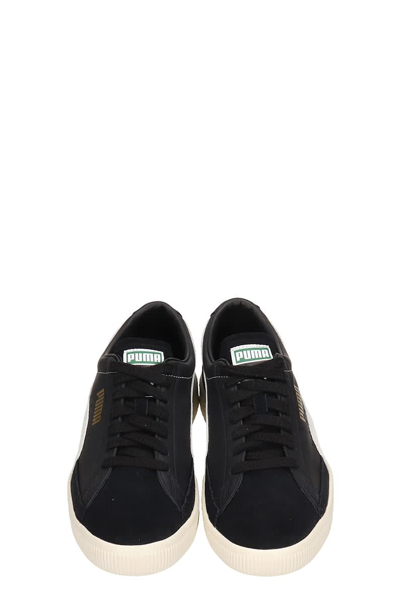 new styles 422a7 63cb0 Puma Basket 90680 Black Leather And Suede Sneakers