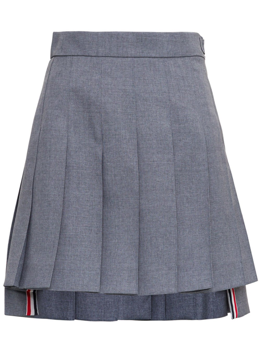 Thom Browne Skirts GREY FLARED PLEATED WOOL SKIRT