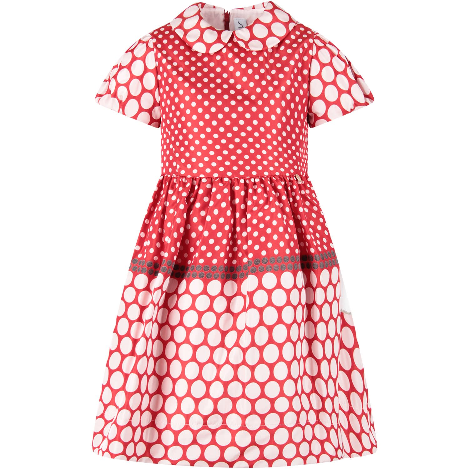 Simonetta Red Girl Dress With White Polka-dots
